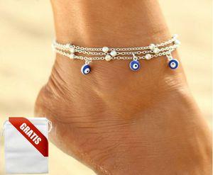 Fußkettchen Damen Nazar-Boncuk-Amulett Auge Türkei Silber Fußkette Fusskette