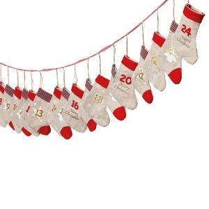 Adventskalender zum Befüllen 'Söckchen' Leinen rot Gold L260cm Weihnachten Weihnachtskalender