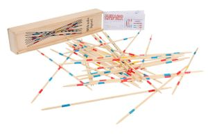 Mikado Spiel in praktischer Holzbox Geschicklichkeitsspiel Reisespiel Zitterwackel
