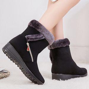 Schneeschuhe Damenstiefel Stiefel mit flachem Absatz Winter Plus Baumwolle Short Boots Größe:38,Farbe:Schwarz