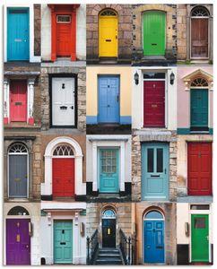 ARTland Schlüsselbrett Fotocollage von 32 bunten Haustüren Größe: 20x25 cm