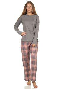 Damen Flanell Pyjama Schlafanzug Top Single Jersey, Hose Flanell - 202 201 10 600, Farbe:grau-melange, Größe:44/46