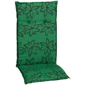 Gartenstuhl-Auflage Barcelona – Hochlehnerauflage für Gartenstühle, Dessin:Grün mit Blumen, Anzahl:1x