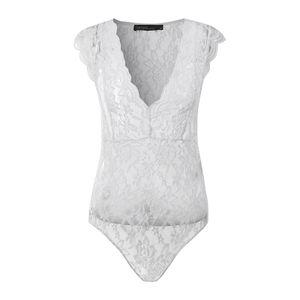 ZANZEA Damen V-Neck Sexy Mode Ärmellos Bodysuit Overalls Spitze Shirt Party Top, Farbe: Weiß, Größe: