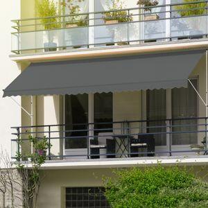 ML-Design Klemmmarkise 350 x 120 cm, Grau, höhenverstellbar, ohne Bohren, UV-beständig, Einziehbar Manuell, aus Metall und Polyester, Markise mit Handkurbel, Balkonmarkise Sonnenschutz Balkon