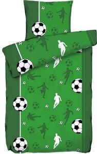 Bettwäsche Motiv Fußball, 135x200 + 80 x 80cm, grün weiß schwarz, Microfaser
