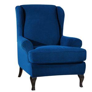 Sofabezuege Ohrensessel Elastischer Stoff Stretchcouch Schonbezug Polyester Elasthan Moebelschutz (Dunkelblau)