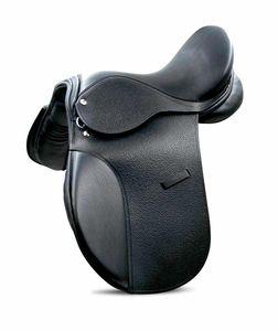 Sattel für Pony aus Leder mit Chromlederstrippen, 15, Farbe:schwarz