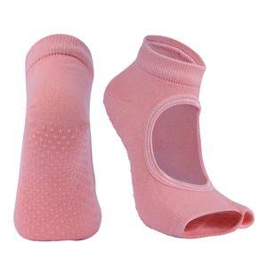 Anti-Rutsch Yoga Socken für Damen, Half Toe Yogasocken für Yoga, Fitness, Pilates, Antirutsch Stoppersocken / Tanzsocken Farbe Orange
