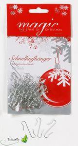 Kugelaufhänger für Christbaumkugeln, 50 Stück, Farbe:silber