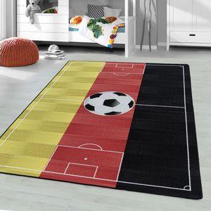 Kurzflor Teppich Deutschland Flagge Kinderzimmer Fussball Muster Kinderteppich, Farbe:Rot, Grösse:160x230 cm