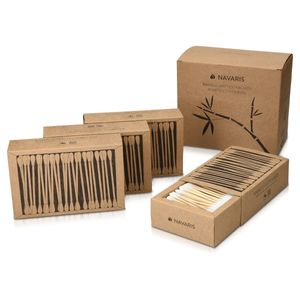 Navaris 800 Öko Wattestäbchen aus Bambus im Set - Ohrenstäbchen nachhaltig aus Holz und Baumwolle - Ohren Stäbchen vegan biologisch abbaubar
