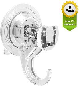 6 Pack Saugnapf Haken Ohne Bohren, halten bis zu 5 kg Gewicht, Vakuum Saughaken extra Stark für Küche Bad Zimmer Fenster Glas, durchsichtig