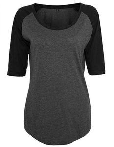 Build Your Brand - Ladies 3/4 Contrast Raglan Tee - Charcoal (Heather) - XL
