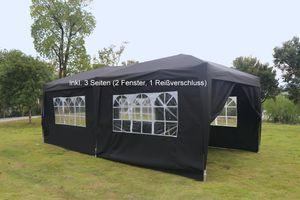 Kronenburg Faltpavillon WASSERDICHT Pavillion Gartenzelt Dachmaß 3x6m UV-Schutz schwarz mit 3 Seiten