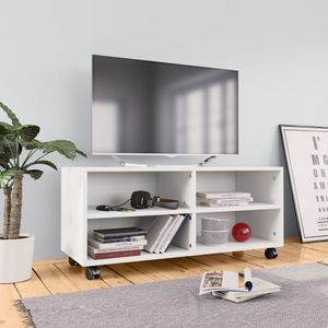 anlund TV-Schrank mit Rollen Weiß 90×35×35 cm Spanplatte