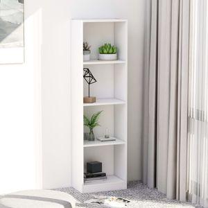 Bücherregal Bücherschrank Standregal Regal 4 Fächer Weiß 40 x 24 x 142 cm Spanplatte