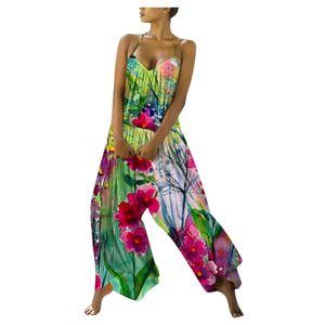 Damen Casual V-Ausschnitt Blumendruck Boho Halfter Wide Leg Backless Overalls Größe:L,Farbe:Lila