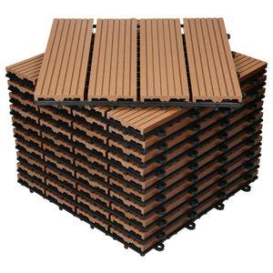 ECD Germany WPC Terrassenfliesen 30x30 cm 55er Spar Set für 5m² Hellbraun in Holzoptik für Garten Balkon Bodenbelag mit Drainage und Klicksystem Terrassendielen Balkonfliesen Klickfliesen Holzfliesen
