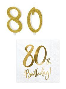 Tortendeko + Servietten 80 Geburtstag
