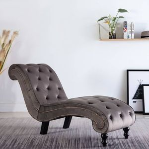 Relaxsessel Relaxliege Liegesessel Loungesessel Chaiselongue Grau Samt