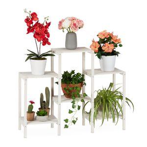 relaxdays Blumenregal Holz weiß