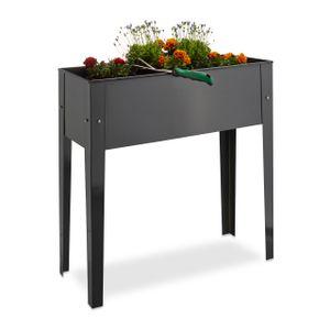relaxdays 1 x Hochbeet Metall grau, Blumenkasten mit Beinen, Blumenkübel Frühbeet Balkon