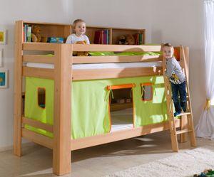 Etagenbett JAN Kinderbett Spielbett Bett mit Bücherregal Buche Grün/Orange, Matratzen oben/unten:ohne