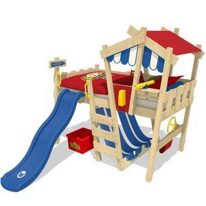 WICKEY Kinderbett Hochbett CrAzY Hutty mit blauer Rutsche Hausbett 90 x 200 cm, Etagenbett