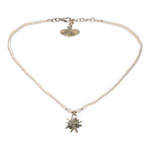 Alpenflüstern Filigran Perlen-Trachtenkette Strass-Edelweiß - Damen-Trachtenschmuck mit antik-silber-farbenem Edelweiss, Dirndlkette (creme-weiß) DHK204