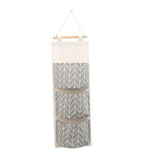 B5-201705116 Ins Nordic Einfache Muster Baumwolle Hängende Aufbewahrungstasche 3 Taschen Wandmontage Kleiderschrank Hängen Tasche Wandtasche Kosmetische Spielzeug Veranstalter für Babyroom Schlafzimmer Badezimmer Küche
