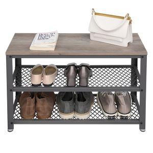 VASAGLE Schuhregal für 9 paar Schuhe mit Sitzfläche 73 x 45 x 30 cm Sitztruhe mit Metallgestell Schuhbank aus Holz greige-grau LBS73MG