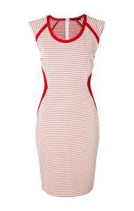 APART Damen Kleid, weiß-rot, Größe:42