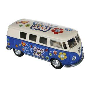 Metall Modellauto VW-Bus T1 1962 Flower Power, Farbe:blau