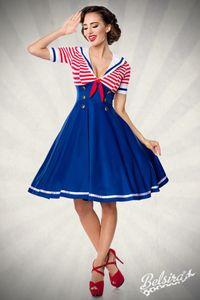 Vintage Retro Swing Kleid im Marinelook blau, weiß, rot Größe S = 36