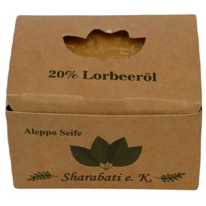 Sharabati Original Aleppo Seife 80/20, 170g - 80% Olivenöl 20% Lorbeeröl, Seife hergestellt in Aleppo - für fettige Haut