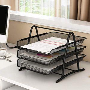 GOPLUS Dokumentenablage 3 Schubfaecher, Briefablage ausziehbar, Ablagefaecher aus Metal, Papierablage Ablagesystem Schreibtisch Organisation Briefkorb