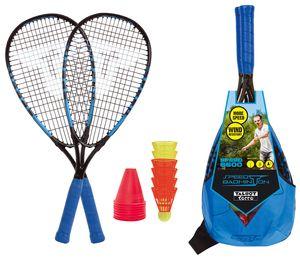 Talbot-Torro Speed-Badminton Set Speed 6600, tolles Komplettset, 2 kraftvolle Alu-Rackets 58,5cm, 6 windstabile Bälle, Cones zur Spielfeldmarkierung, im trendigen Rucksack, cyanblau-schwarz