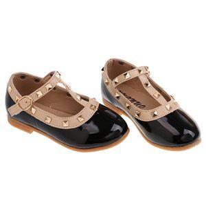 Kleinkind Prinzessin Mädchen Kinder Sandalen Niet T-Strap Flache Schuhe 35
