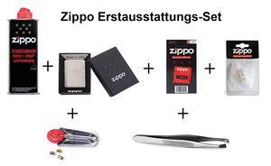Zippo Erstausstattungs-Set: Zippo Feuerzeug Chrom + Benzin, Feuersteine, Docht, Watte, und Pinzette