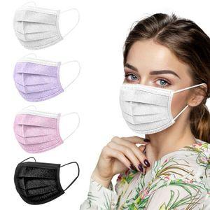 30 Masken Mundschutz 3-lagig Einweg Gesichtsmaske Hygienemaske Einwegmaske OP-Maske Schwarz*10 +Rosa*10+Weiß*10