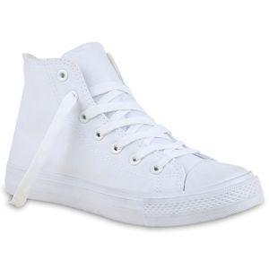 Mytrendshoe Damen High Top Sneakers Stoffschuhe Trendfarben Sportschuhe 814973, Farbe: Weiß, Größe: 39