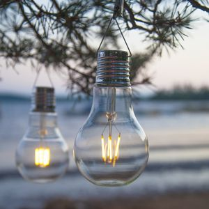 LED-Solar-XL Glühbirne outdoor 18 x 10 cm, warmweißes Filament, Dämmerungssensor
