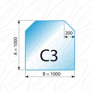 Kaminbodenplatte Transparent Form C3  1000 x 1000 x 6mm - Version ECO (Tragkraft bis 550 Kg)