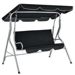 Juskys Hollywoodschaukel 3-Sitzer mit Dach & Sitzauflage – Gartenschaukel 200 kg belastbar – Schaukelbank für Garten & Terrasse - schwarz