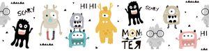 Lovely Kids selbstklebende Kinderzimmer Bordüre Monster Party bunt gelb grau schwarz weiß 5,00 m x 0,155 m