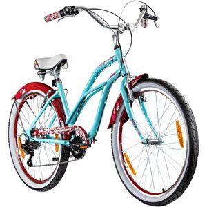 Galano Malibu 26 Zoll Beachcruiser Damen Beach Cruiser Fahrrad Bike Retro Rad 6 Gänge, Farbe:sky blau