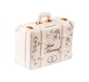 Spardose Koffer 'Just married' 15x13 cm - Aus Keramik - Hochzeitsgeschenk Sparbüchse, Sparschwein