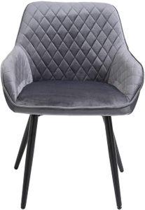 Sigtua, Esszimmerstuhl aus Samt umgebener Design Küchenstuhl Polsterstuhl Sessel Lehnstuhl Besucherstühle Schmink Stühle Wohnzimmerstuhl mit Lehne Grau