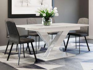 Mirjan24 Esstisch Bronx, Stilvoll Ausziehbar Esszimmertisch, Design Tisch, Esszimmer (Farbe: Weiß Hochglanz)